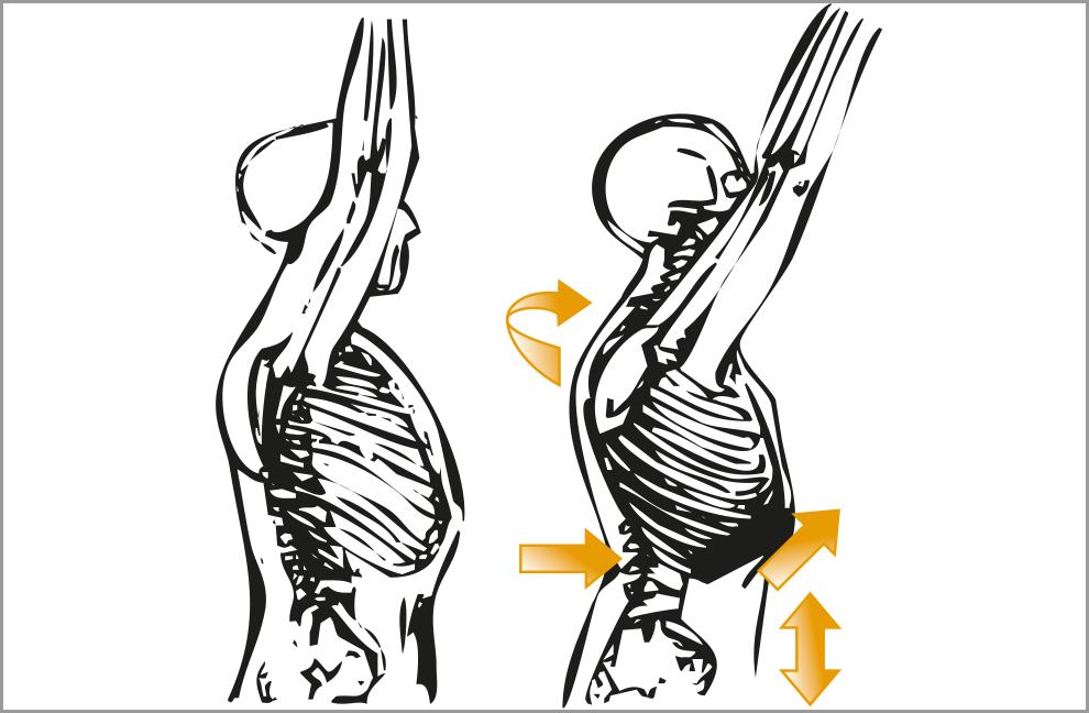 Wird über einen längeren Zeitraum mit diesen Einschränkungen trainiert, sind häufig Schmerzen in der Schulter, im Nacken oder im unteren Rücken die Folge