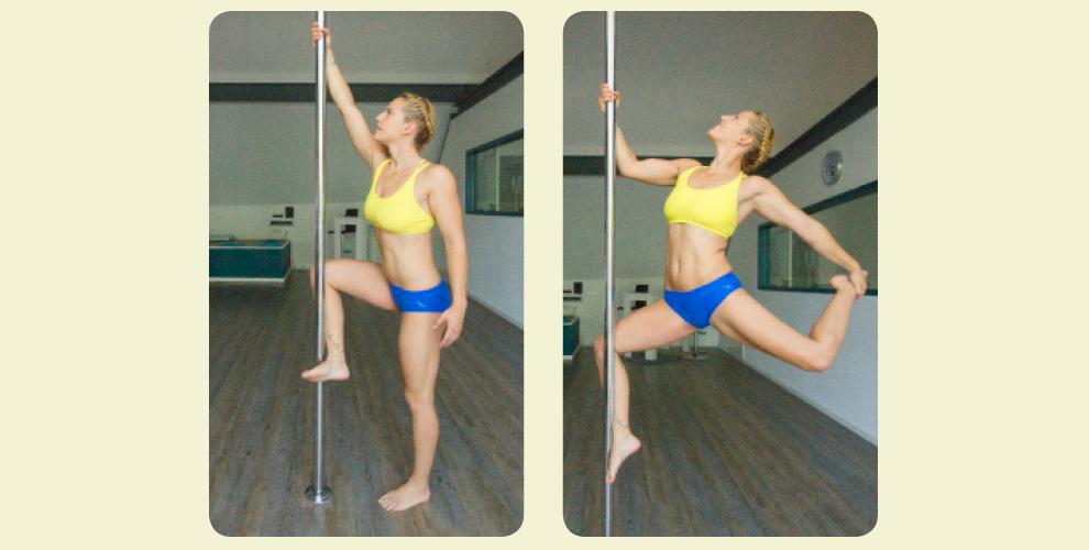 Skater Trick 1. Die Ausgangsposition ist wie beim Klettern (Bild 1). 2. Die Schultern werden tief nach unten gezogen. Dann zieht sich der Trainierende mit den Armen und mit dem Druck des Beines an der Pole nach oben. Das Standbein wird nach hinten gebracht. Bei sicherem Gefühl kann eine Hand (im Bild die linke) gelöst und das freie Bein (im Bild das linke) gegriffen werden (Bild 2).