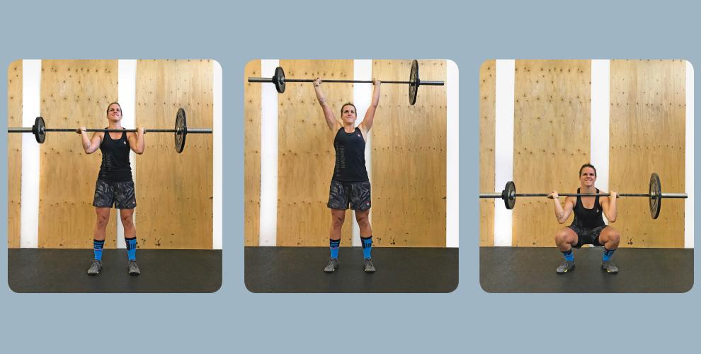 Unsymmetric Push-Press Führe aus einer stabilen Position eine Push-Press aus. Die Gewichtsplatten auf der Langhantel sind dabei unterschiedlich schwer, sodass sowohl beim Ausstoß als auch die Stabilisierung der Endposition keine symmetrischen Kräfte einwirken. Versuche, bei der unterschiedlichen Kraft- und Gewichteinwirkung deine Körpermitte und deine Position maximal stabil zu halten. Steigere die Push-Press mit einem Thruster oder einen Cluster.