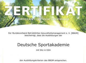 Zertifizierte Weiterbildung der Deutschen Sportakademie